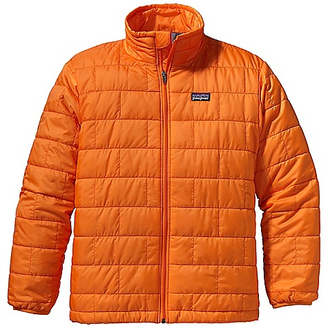 The Patagonia Boys' Nano Puff Jacket is an insulated jacket for cool weather that is easily layered for cold days. The outer shell is a polyester mini-ripstop, built for tear-resistance that is also windproof. The durable water repellent finish on the outside allows a light rain or Snow to bead up and roll off his shoulders, instead of soaking in. The 60g of PrimaLoft Gold Insulation on the inside provides warmth and when the fall sun heats up on the family hike, the lightweight Insulation allows him to tuck the whole jacket into the internal chest pocket. It's now ready for throwing into his day pack or clipping it to a belt for later. The elastic cuffs wrap his wrists for draft protection and zippered hand pockets warm his hands or secure small treasures. Features of the Patagonia Boys' Nano Puff Jacket Lightweight, wind-resistant polyester mini-ripstop shell has High-tear strength; fabric treated with a Deluge DWR (durable water repellent) finish Warm and incredibly lightweight Insulation made of 60-g PrimaLoft One 100% polyester Unique quilt pattern holds Insulation in place Full-zip front with internal wind flap and zipper garage Two zippered handwarmer pockets with reflective webbing pulls; internal zippered chest pocket doubles as stuffsack Spandex binding at sleeve opening; adjustable drawcord at hem Hand-me-down ID label - $99.00
