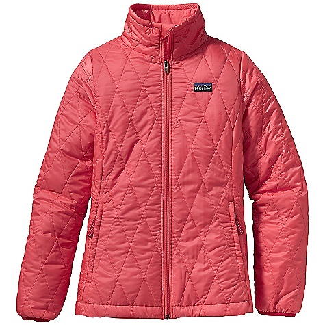 The Patagonia Girls' Nano Puff Jacket is light Insulation for cool days. The Nano Puff begins with a mini-ripstop shell, made to block wind and resist tears, which is then finished with a durable water repellent to prevent light rain or Snow from soaking into the fabric. The power of PrimaLoft One Insulation adds warmth to her Upper half as she walks to school or hits the playground with friends. The zippered pockets hold onto house keys and coins while a quilted diamond pattern provides a cute look. As the season turns colder, add a hardshell and the Nano Puff becomes a warm mid-layer. Features of the Patagonia Girls' Nano Puff Jacket Lightweight, wind-resistant polyester mini-ripstop shell has High-tear strength; fabric treated with a Deluge DWR (durable water repellent) finish Warm and incredibly lightweight Insulation made of 60-g PrimaLoft One 100% polyester Unique quilt pattern holds Insulation in place Full-zip front with internal wind flap and zipper garage Two zippered handwarmer pockets with reflective webbing pulls; internal zippered chest pocket doubles as stuffsack Spandex binding at sleeve opening; adjustable drawcord at hem Hand-me-down ID label - $68.99
