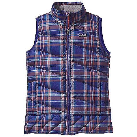 On Sale. Free Shipping. Patagonia Girls' Down Vest DECENT FEATURES of the Patagonia Girls' Down Vest Print and Solid: Lightweight recycled polyester ripstop fabric is windproof Plain-weave polyester liner is soft All fabrics are treated with a Deluge DWR (durable water repellent) finish High-loft 600-fill-power premium European goose down is compressible and lightweight Varied quilting pattern keeps goose down in place, adds aesthetic appeal, and a feminine fit Full-zip is lined with brushed polyester jersey and has an internal wind flap and zipper garage Sleeve opening with snug spandex binding holds shape Zippered handwarmer pockets have reflective webbing pulls Internal drawcord adjustment at hem Hand-me-down ID label The SPECS Regular fit Shell: 2.3-oz 100% recycled polyester ripstop Print: 2.7-oz 100% recycled polyester Lining: 2-oz 100% polyester plain weave All with a Deluge DWR (durable water repellent) finish Insulation: 600-fill-power premium European goose Weight: 12.7 oz / 360 g This product can only be shipped within the United States. Please don't hate us. - $82.99