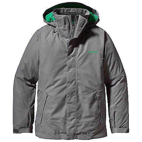 Ski On Sale. Free Shipping. Patagonia Men's Insulated Snowshot Jacket DECENT FEATURES of the Patagonia Men's Insulated Snowshot Jacket Durable H2No Performance Standard 2-layer polyester plain weave or ripstop fabric (depending on color) has a waterproof/breathable barrier for storm protection and smooth taffeta lining for ease of movement over layers 100-g Thermogreen insulation in the body, 60-g in the hood and sleeves ensures warmth with less bulk Updated this season with a low profile snap closure Helmet-compatible, 2-way-adjustable removable hood with laminated visor for optimal visibility in bad conditions Soft microfleece panels inset in back of neck and chin keeps neck cozy and comfortable High collar seals out cold air and snow Pit zips quickly release heat Articulated arms improve mobility Updated, low profile, snow-seal powder skirt with snap-secure webbing loop at center back keeps snow out and skirt down - connects to any Patagonia Snow pant Pockets: Two handwarmers, one chest (with media pocket and cable routing) and one internal stash - all zip secure Two internal drop-in pockets for goggles and gloves Improved adjustable low profile cuff design Hem can cinch on extra chilly days to keep the cold out Drawcord exits into handwarmer pockets for easy adjustments The SPECS Relaxed fit Weight: 41.5 oz / 1176 g H2No Performance Standard ripstop Shell: 2-layer, 4.5-oz 75-denier 100% polyester (50% recycled) ripstop with a waterproof/breathable barrier and a Deluge DWR (durable water repellent) finish H2No Performance Standard Plain-Weave Shell: 2-layer, 4.5-oz 75- to 150-denier 100% polyester (48% recycled) plain weave with a waterproof/breathable barrier and a Deluge DWR finish Lining and Powder Skirt: 2-oz 100% polyester plain weave Insulation: 100-g (60-g in hood and sleeves) Thermogreen 100% polyester (90% recycled) This product can only be shipped within the United States. Please don't hate us. - $193.99
