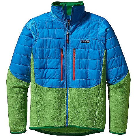 On Sale. Free Shipping. Patagonia Men's Nano Puff Hybrid Jacket DECENT FEATURES of the Patagonia Men's Nano Puff Hybrid Jacket Lightweight recycled polyester ripstop shell with a Deluge DWR finish repels weather 60-g Prim aloft One keeps you warm Polartec Thermal Pro vents excess heat to regulate body temperature Mapped Prim aloft One insulation extends down sleeve to cuff and provides added coverage on torso highly breathable and compressible R2 fleece in side panels, underside of arms and lower torso Brushed tricot on inside of tall collar wicking interior storm flap and zipper garage at chin for next-to-skin comfort Full-length, reverse-coil front zipper treated with a Deluge DWR finish; backed with a low-bulk wind flap Two zippered high hand pockets are harness- and pack-compatible Elasticized binding at cuffs and hem provide stability and shape retention The SPECS Slim fit Weight: 12.1 oz / 343 g Shell: 1-oz 15-denier 100% recycled polyester Insulation: 60-g PrimaLoft One 100% polyester (70% recycled) Lining: 1.4-oz 22-denier 100% recycled polyester Shell and lining have a Deluge DWR (durable water repellent) finish Venting: 6.1-oz Polartec Thermal Pro 98% polyester (63% recycled)/2% spandex This product can only be shipped within the United States. Please don't hate us. - $173.99