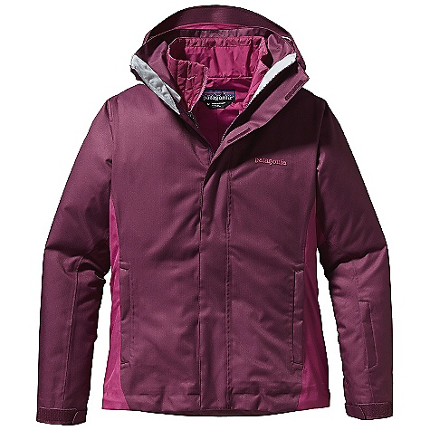 On Sale. Free Shipping. Patagonia Women's 3-In-1 Snowbelle Jacket DECENT FEATURES of the Patagonia Women's 3-In-1 Snowbelle Jacket Soft and durable 2-layer polyester H2No Performance Standard fabric provides storm protection A combination of brushed and slick mesh lining keeps you warm and wicks away moisture Light zip-out liner with 60-g Thermo green insulation stays warm even when wet Removable, helmet-compatible, 2-way-adjustable hood with laminated visor for optimal visibility in bad conditions Tall collar protects neck and face, even with the hood down Pit zips quickly release heat Low-profile pleated gusset comfortably secures cuff, over or under gloves, with less bulk Snow-seal powder skirt, with snap secure webbing loop at center back, keeps the snow out and the skirt down and connects to any Patagonia Snow pants The SPECS Regular fit Weight: 40.6 oz / 1151 g H2No Performance Standard shell: 2-layer, 5.6-oz 150-denier 100% polyester with a waterproof/breathable barrier and a Deluge DWR (durable water repellent) finish Lining: 100% polyester mesh Zip-Out Jacket: 1.4-oz 20-denier 100% polyester mini-ripstop Zip-Out Jacket Lining: 2-oz 100% polyester plain weave Zip-Out Jacket's shell and lining have a Deluge DWR finish Powder Skirt: 2-oz 100% polyester plain weave Insulation: 60-g Thermogreen 100% polyester (90% recycled) This product can only be shipped within the United States. Please don't hate us. - $258.99
