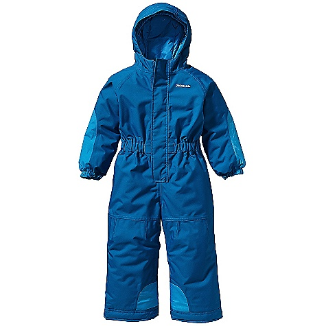 Ski On Sale. Free Shipping. Patagonia Baby Otter Snowsuit DECENT FEATURES of the Patagonia Baby Otter Snowsuit Three-panel hood with elasticized gusset under brim keeps hood on and cold out Front zipper with internal zip cover and external wind flap with hook and- loop closure Elasticized sleeve cuffs, raglan sleeves, elasticized waist minimizes bulk Internal leg gaiter keeps snow out and pant leg down, scuff guard at hem Grow-fit feature adds 1 1/2in.in sleeve length and 2in. in legs for extended wear hand-me-down ID label inside Grow-fit feature in sleeves and legs adds 1 1/2in. and 2in. respectively to length for extended wear Hand-me-down ID label The SPECS Relaxed fit Weight: 23.6 oz / 669 g H2No Performance Standard Shell: 2-layer, 5.6-oz 100% polyester Contrast: 2.5-layer, 2.6-oz 50-denier 100% nylon ripstop Shell and contrast have a waterproof/breathable barrier Lining: 2-oz 100% polyester plain weave All with a Deluge DWR (durable water repellent) finish Insulation: 150-g Thermogreen 100% polyester (90% recycled) This product can only be shipped within the United States. Please don't hate us. - $103.99
