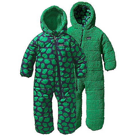 Ski On Sale. Free Shipping. Patagonia Infant Reversible Tribbles Bunting DECENT FEATURES of the Patagonia Infant Reversible Tribbles Bunting Wind-resistant quilted shell side is treated with a Deluge DWR finish and reverses to a soft, high-pile fleece side 100-g Thermogreen insulation stays warm and dry even when wet Three-panel hood construction is snug around baby's face Raglan sleeves and gusseted crotch provides extra room and mobility Quilting through all layers reduces bulk Deep front zipper entry for easy on/off and diaper changes Elasticized sleeve cuffs with convertible hand covers on shell side Warm high-pile fleece bootie fits securely over feet The SPECS Regular fit Weight: 17.3 oz / 490 g Shell Side: 2.7-oz 100% recycled polyester with a Deluge DWR (durable water repellent) finish Fleece Side: 8.6-oz 100% polyester deep-pile, double-faced fleece Insulation: 100-g Thermogreen 100% polyester (90% recycled) This product can only be shipped within the United States. Please don't hate us. - $82.99