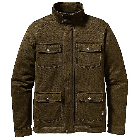 On Sale. Free Shipping. Patagonia Men's Better Jacket DECENT FEATURES of the Patagonia Men's Better Jacket Fabric has a sweater-knit face, fleece interior and heathered yarns Fabric doubled on stand-up collar for warmth Full-length zipper and snap placket has internal wind flap Polyester brushed jersey lining on wind flap placket, cuffs, pocket flaps and hem have a clean finish Shoulder panels with sloped top-stitched seams Four utility pockets with flaps and metal snaps Hip length The SPECS Regular fit Weight: 20.3 oz / 575 g 9-oz 100% polyester fleece This product can only be shipped within the United States. Please don't hate us. - $124.99