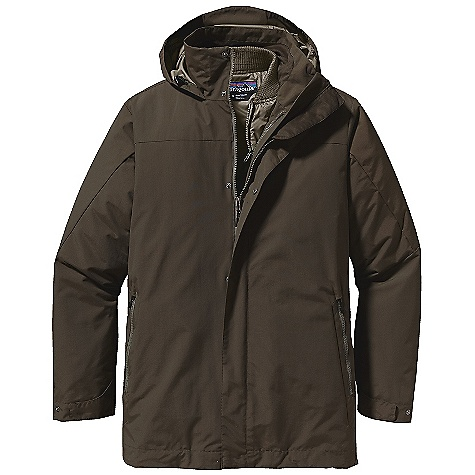 On Sale. Free Shipping. Patagonia Men's Venn 3-In-1 Parka DECENT FEATURES of the Patagonia Men's Venn 3-in-1 Parka H2No nylon shell with a DWR finish DWR-treated recycled polyester zip-out jacket with 60-g Thermo green insulation Full-zip parka shell has 2-way zipper wind flap with snap closure stand-up collar with fully adjustable hood attaches at neckline brushed polyester jersey on chin guard and inner collar cuffs adjust with snap tabs hem adjusts with elasticized draw cord accessed through hand warmer pockets Pockets on shell: Two zippered hand warmers lined with brushed polyester jersey internal zippered left chest pocket Insulated zip-out jacket attaches to shell with center front zippers and snap loops at cuffs and back of neck Insulated zip-out jacket with diamond-shaped quilting welted full-length zipper polyester rib-knit collar and cuffs welted drop-in hand warmer pockets lined with brushed polyester jersey internal zippered left chest pocket flat hem Shell: Lower hip length zip-out jacket: Hip length The SPECS Regular fit Weight: 48.6 oz / 1378 g Outer Shell: 5.45-oz 100% nylon with Porous PU Coating, DWR finish Shell Lining and Insulated zip-out Jacket: 2.3-oz 100% Recycled Polyester Down Proof with DWR finish (90% recycled) Insulation: 60g 100% Recycled Polyester Thermo green This product can only be shipped within the United States. Please don't hate us. - $193.99