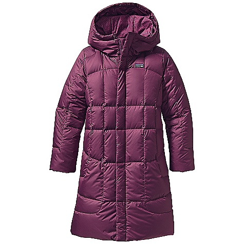 On Sale. Free Shipping. Patagonia Girls' Down Coat DECENT FEATURES of the Patagonia Girls' Down Coat Lightweight recycled polyester shell fabric is windproof and treated with a Deluge DWR (durable water repellent) finish High-loft 600-fill-power premium European goose down is compressible and lightweight Deep hood provides extra warmth in cold weather Internal elastic cuffs with internal gaiter keeps cold air out Two-way full-length zipper has external, wind flap with snaps Two on-seam, fleece-lined handwarmer pockets Slightly contoured for girl-friendly fit Hand-me-down ID label The SPECS Regular fit Weight: 21 oz / 595 g Shell: 2.3-oz 100% recycled polyester ripstop Lining: 2.7-oz 100% recycled polyester Both with a Deluge DWR (durable water repellent) finish Insulation: 600-fill-power premium European goose down This product can only be shipped within the United States. Please don't hate us. - $117.99