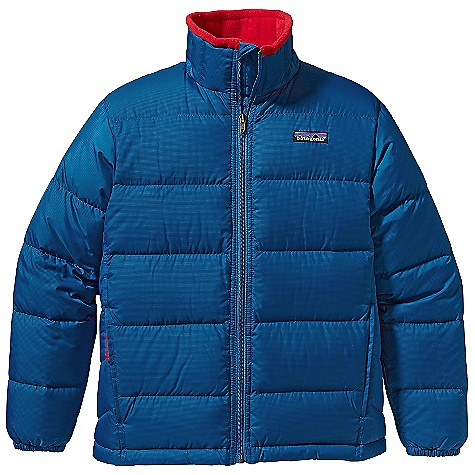 On Sale. Free Shipping. Patagonia Boys' Down Jacket DECENT FEATURES of the Patagonia Boys' Down Jacket Lightweight polyester ripstop fabric is windproof and treated with a Deluge DWR finish High-loft 600-fill-power premium European goose down is compressible and lightweight Zipper garage prevents chin chafe Fleece-lined collar adds warmth and comfort Diagonal quilting on side panels improves shaping, vertical quilting on collar for less bulk On-seam zippered handwarmer pockets with reflective pulls Elastic cuffs Drawcord at waist Hand-me-down ID label The SPECS Relaxed fit Weight: 15.8 oz / 447 g Solid Shell: 2.3-oz 100% polyester ripstop Printed Shell: 2.7-oz 100% recycled polyester Lining: 2-oz 100% polyester plain weave All with a Deluge DWR (durable water repellent) finish Insulation: 600-fill-power premium European goose down This product can only be shipped within the United States. Please don't hate us. - $110.99