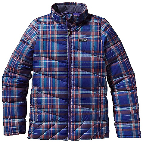 On Sale. Free Shipping. Patagonia Girls' Down Jacket DECENT FEATURES of the Patagonia Girls' Down Jacket Windproof and lightweight recycled polyester shell soft plain-weave polyester liner all with a Deluge DWR finish Compressible and lightweight high-loft 600-fill-power premium European goose down Varied quilting pattern keeps goose down in place, adds aesthetic appeal and feminine fit Full-zip through stand-up collar lined with brushed polyester jersey internal wind flap and zipper garage Sleeve has internal gaiter and spandex binding at cuff to seal out cold Two zippered hand warmer pockets with reflective webbing pulls internal draw cord at hem Hand-me-down ID label The SPECS Regular fit Weight: 16 oz / 454 g Shell: 2.3-oz 100% recycled polyester ripstop Print: 2.7-oz 100% recycled polyester Lining: 2-oz 100% polyester plain weave All with a Deluge DWR finish Insulation: 600-fill-power premium European goose down This product can only be shipped within the United States. Please don't hate us. - $75.99