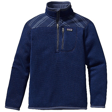 Free Shipping. Patagonia Boys' Better Sweater Zip Neck DECENT FEATURES of the Patagonia Boys' Better Sweater Zip Neck Polyester sweater-knit face with a fleece interior and heathered over dyed yarns Stand-up collar, sleeve opening and hem lined with brushed polyester jersey for additional comfort soft fabric turns over top of collar for comfort Zipper with internal wind flap and zipper garage Yoke on certain color ways with contrast stripe detail Zippered left chest pocket The SPECS Regular fit Weight: 11.4 oz / 323 g Solid: 9.5-oz 100% polyester Stripes: 9.9-oz 100% polyester Both with sweater-knit face and fleece interior This product can only be shipped within the United States. Please don't hate us. - $79.00