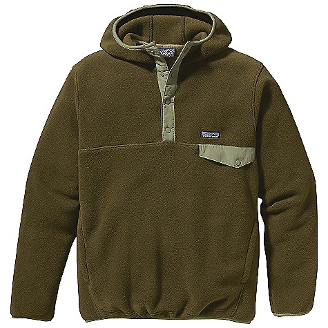 Free Shipping. Patagonia Men's Snap-T Hoody DECENT FEATURES of the Patagonia Men's Snap-T Hoody Made of warm, recycled double-faced polyester fleece Pullover with three-panel hood construction and 4-snap placket reinforced with Supplex nylon Left-chest pocket with Supplex nylon flap and snap closure Front and back yoke seams Kangaroo-style hand warmer pockets Spandex binding on hood opening, cuffs and hem Hip length The SPECS Regular fit Weight: 23.1 oz / 654 g 10.6-oz 100% polyester (86% recycled) fleece This product can only be shipped within the United States. Please don't hate us. - $139.00