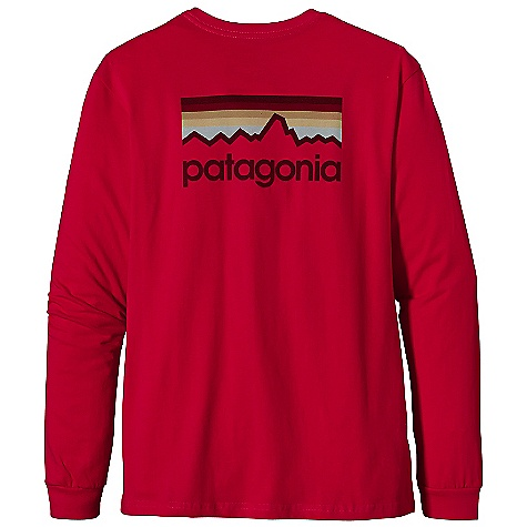 Patagonia Men's L-S Line Logo T-Shirt DECENT FEATURES of the Patagonia Men's Long Sleeve Line Logo T-Shirt Screen-print inks are PVC - and phthalate-free Taped shoulder seams for comfort 20 singles super soft ring spun organic cotton Artist: Aaron Draplin The SPECS Regular fit Weight: 8.7 oz / 246 g 5.4-oz 100% organic cotton This product can only be shipped within the United States. Please don't hate us. - $45.00