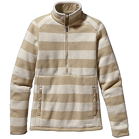 On Sale. Free Shipping. Patagonia Women's Better Sweater Stripe Marsupial DECENT FEATURES of the Patagonia Women's Better Sweater Stripe Marsupial Fleece pullover with a 1/2-zip, an internal wind flap and zipper garage Stand-up collar lined with brushed polyester jersey for extra comfort Forward shoulder seams Front and back contoured seams provide shaping and a great fit Kangaroo hand warmer pocket lined with polyester jersey Polyester jersey trim at the cuffs and pocket openings Hip length The SPECS Slim fit Weight: 16.5 oz / 468 g Stripe: 9.5-oz 100% polyester fleece with sweater-knit exterior Cable: 10.4-oz polyester with cable knit sweater face both with fleece interior This product can only be shipped within the United States. Please don't hate us. - $64.99