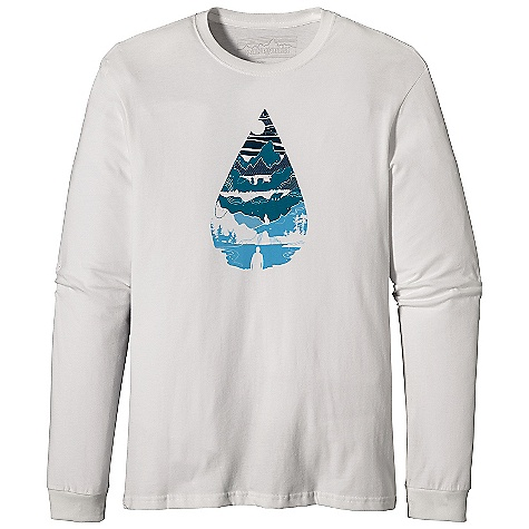Patagonia Men's L-S Water Drop T-Shirt DECENT FEATURES of the Patagonia Men's Long Sleeve Water Drop T-Shirt Screen-print inks are PVC - and phthalate-free Taped shoulder seams for comfort 20 singles super soft ring spun organic cotton Artists: BXC Design The SPECS Regular fit Weight: 8.7 oz / 246 g 5.4-oz 100% organic cotton This product can only be shipped within the United States. Please don't hate us. - $45.00