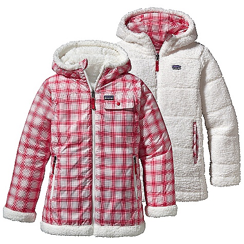 On Sale. Free Shipping. Patagonia Girls' Dynamite Duo Jacket DECENT FEATURES of the Patagonia Girls' Dynamite Duo Jacket Wind-resistant shell side is treated with a Deluge DWR finish Soft plush fleece side is insulated with warm 100-g Thermogreen polyester Quilting throughout all layers reduces bulk Shell Side: handwarmer pockets with zipper closures Fleece side with handwarmer pocket Zipper garage prevents chin chafe Three-panel hood is comfortable and provides a stay-put fit Yoke seam detail Feminine seaming on front and back for girl fit Reflective pull-on zippers The SPECS Regular fit Weight: 24.9 oz / 705 g Shell: 2.7-oz 100% recycled polyester with a Deluge DWR (durable water repellent) finish Lining: 8.6-oz 100% polyester deep-pile, double-faced fleece Insulation: 100-g Thermogreen 100% polyester (90% recycled) This product can only be shipped within the United States. Please don't hate us. - $82.99