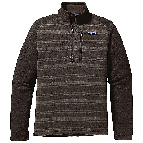 Free Shipping. Patagonia Men's Better Sweater Stripe 1-4 Zip DECENT FEATURES of the Patagonia Men's Better Sweater Stripe 1/4 Zip Fabric has a Sweater-Knit Face, Fleece Interior and Heathered Yarns Stand-Up Collar Raglan Sleeves Made of Contrasting Heathered Fleece 1/4-Zip Closure with Wind Flap Polyester Brushed Jersey Trim on Stand-Up Collar, Cuffs and Inside Hem Hip Length The SPECS Regular fit Weight: 17.4 oz / 493 g 9.5 oz 100% Polyester (Stripes: 9.9 oz) with a Sweater-Knit Exterior and Fleece Interior This product can only be shipped within the United States. Please don't hate us. - $119.00