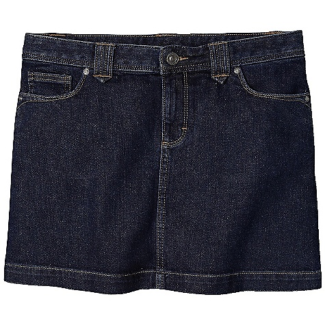 Free Shipping. Patagonia Women's Denim Skirt DECENT FEATURES of the Patagonia Women's Denim Skirt Organic cotton denim with stretch for mobility 5-pocket-jeans styling with flat waistband, belt loops, zip fly and shank-button closure Back drop-in pockets with stitch detail Back yoke for shaping Above-the-knee length 14in. length, waist to hem The SPECS Regular fit Medium Wash: 11.5-oz 98% organic cotton 2% spandex denim Light Grey Wash: 9.5-oz 99% organic cotton 1% spandex denim This product can only be shipped within the United States. Please don't hate us. - $69.00