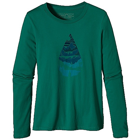 Patagonia Women's L-S Water Drop T-Shirt DECENT FEATURES of the Patagonia Women's Long Sleeve Water Drop T-Shirt Screen-print inks are PVC - and phthalate-free Taped shoulder seams for comfort 40 singles, ring spun 100% organic cotton for super soft feel Artists: BXC Design The SPECS Boy fit Weight: 4.5 oz / 127 g 4-oz 100% organic cotton This product can only be shipped within the United States. Please don't hate us. - $45.00