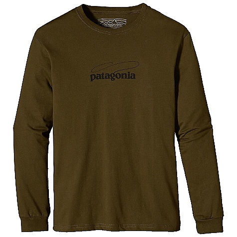 Patagonia Men's L-S Fish Logo T-Shirt DECENT FEATURES of the Patagonia Men's Long Sleeve Fish Logo T-Shirt Screen-print inks are PVC - and phthalate-free Taped shoulder seams for comfort Now with soft, two-inch ribbed cuffs 20 singles super soft ring spun organic cotton Artist: Patagonia Logo wear Crew The SPECS Regular fit Weight: 8.7 oz / 246 g 5.4-oz 100% organic cotton This product can only be shipped within the United States. Please don't hate us. - $45.00