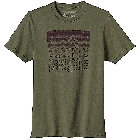 Patagonia Men's Logostack T-Shirt DECENT FEATURES of the Patagonia Men's Logostack T-Shirt Screen-print inks are PVC- and phthalate-free Taped shoulder seams for comfort 20 singles super soft ringspun organic cotton Artist: Aaron Draplin, Patagonia Logowear Crew The SPECS Slim fit Weight: 6.6 oz / 187 g 5.4-oz 100% organic cotton This product can only be shipped within the United States. Please don't hate us. - $35.00