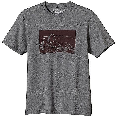 Patagonia Men's Sketchbook Fitz Roy T-Shirt DECENT FEATURES of the Patagonia Men's Sketchbook Fitz Roy T-Shirt Screen-print inks are PVC - and phthalate-free Taped shoulder seams for comfort 20 singles super soft ring spun organic cotton Artist: Kitty Botke The SPECS Regular fit Weight: 6.9 oz / 195 g 5.4-oz 100% organic cotton This product can only be shipped within the United States. Please don't hate us. - $35.00