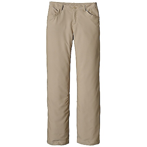Free Shipping. Patagonia Women's River Valley Pant DECENT FEATURES of the Patagonia Women's River Valley Pant Stretch-woven fabric with mechanical stretch and a DWR finish Flat waistband with belt loops, zip fly and button closure Curved front pockets Two welted, drop-in back pockets with button closures Back yoke for shaping The SPECS Regular fit, regular rise, straight leg Inseam: 32in. Weight: 10.3 oz / 292 g 5.2-oz 52% polyester, 48% nylon with a DWR (durable water repellent) finish This product can only be shipped within the United States. Please don't hate us. - $79.00