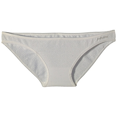 Fitness Patagonia Women's Barely Bikini Bottom DECENT FEATURES of the Patagonia Women's Barely Bikini Bottom Soft, feather weight recycled polyester/spandex blend wicks and breathes Seamless construction Lace-like texture is integral to fabric Pairs with our W's Barely Bra and Barely Everyday Bra Tagless for itch-free comfort The SPECS Formfitting Weight: 0.6 oz / 17 g 4.6-oz 94% polyester (73% recycled), 6% spandex, with a moisture-wicking finish This product can only be shipped within the United States. Please don't hate us. - $20.00