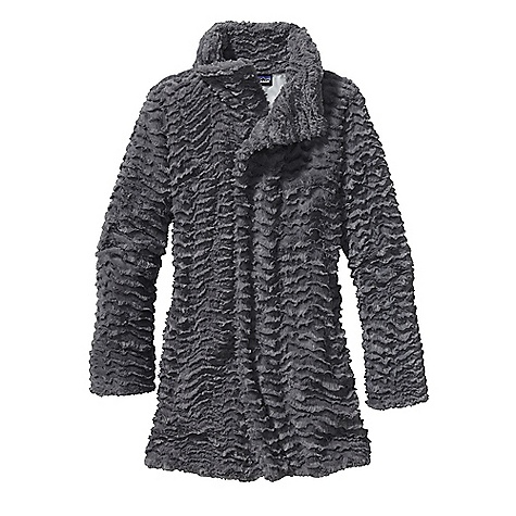 On Sale. Free Shipping. Patagonia Women's Pelage Coat DECENT FEATURES of the Patagonia Women's Pelage Coat Curly deep-pile fleece is soft and cozy Subtle swing-style jacket with asymmetrical front closure Double-fleece collar Hidden front zipper and snap closure On-seam handwarmer pockets Contrast lining on all colors The SPECS 11.2-oz 100% polyester curly, deep-pile fleece Lining: 2.3-oz 100% recycled polyester ripstop with a Deluge DWR (durable water repellent) finish Weight: 27.6 oz / 782 g Regular fit This product can only be shipped within the United States. Please don't hate us. - $158.99