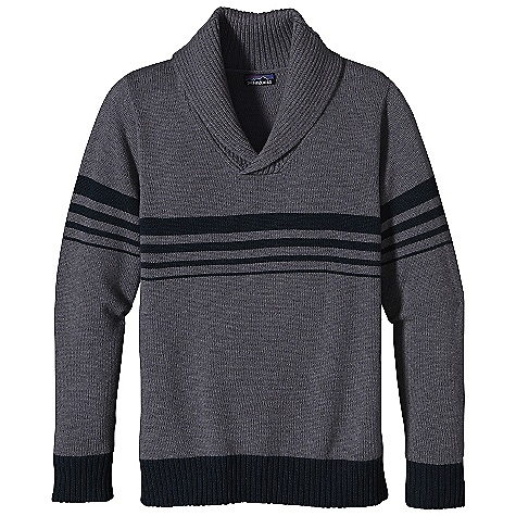On Sale. Free Shipping. Patagonia Men's Decanter Sweater DECENT FEATURES of the Patagonia Men's Decanter Sweater Soft Lambswool/Nylon Blend Provides Durability, Longevity and Shape Retention Pullover Sweater with Rib-Knit Shawl Collar and Fully Fashioned Seams Stripes Across Chest and Sleeves Rib-Knit on Cuffs and Hem Matches Stripes Heathered Colors The SPECS Regular fit Weight: 24 oz / 680 g 5-Gauge 80% Wool, 20% Nylon Jersey Knit This product can only be shipped within the United States. Please don't hate us. - $94.99