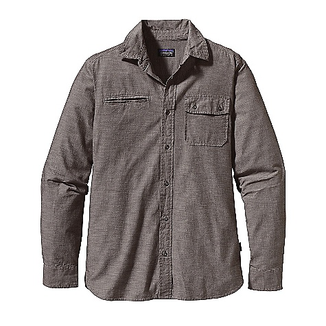 Free Shipping. Patagonia Men's L-S Chambray Shirt DECENT FEATURES of the Patagonia Men's Long Sleeve Chambray Shirt Lightweight organic cotton woven chambray has a soft hand Button-front shirt with metal buttons, triple-needle stitching; button-through left-chest patch pocket and double welted, right-chest drop-in pocket Contrast chambray on underside of collar, left-chest pocket flap and cuff placket binding Self-fabric reinforcements at side-seam hem Shirttail hem The SPECS Fabric: 3.4-oz 100% organic cotton woven chambray Weight: 10.8 oz / 306 g This product can only be shipped within the United States. Please don't hate us. - $79.00