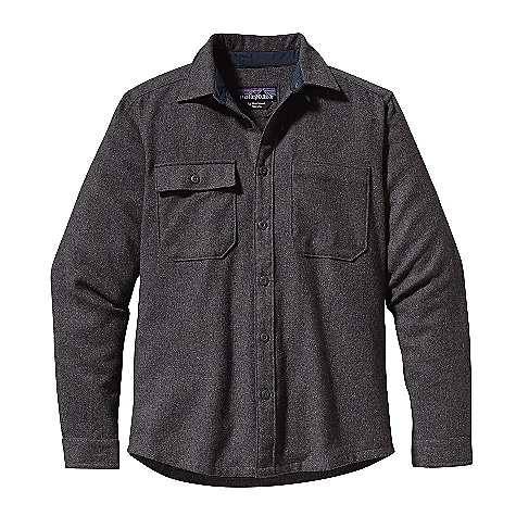 Free Shipping. Patagonia Men's L-S Felted Shirt DECENT FEATURES of the Patagonia Men's Long Sleeve Felted Shirt Warm and durable recycled wool/polyester blend Traditional button-front shirt with patch chest pockets Right-chest pocket has button-flap closure Collar stand and cuffs lined with durable 2-oz polyester plain weave Contrast color on bar tacks and select buttonholes Subtle shirttail hem The SPECS Regular fit Weight: 15.9 oz / 450 g 6.9-oz 60% recycled wool, 30% polyester/10% nylon This product can only be shipped within the United States. Please don't hate us. - $119.00