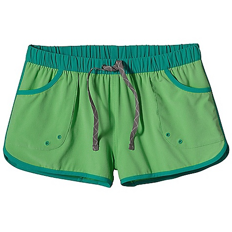 Surf Patagonia Women's Shortie Board Short DECENT FEATURES of the Patagonia Women's Shortie Board Short Stretch-woven, all-recycled polyester and spandex fabric provides maximum mobility and comfort Elastic waistband with external draw cord Pockets have drain holes Two snap pockets in back The SPECS Slim fit Inseam: 2in. Weight: 4.3 oz / 121 g 4.7-oz 93% all-recycled polyester/7% spandex This product can only be shipped within the United States. Please don't hate us. - $45.00