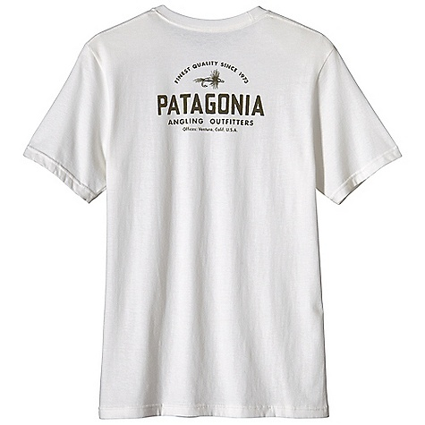 Patagonia Men's Dry Fly T-Shirt DECENT FEATURES of the Patagonia Men's Dry Fly T-Shirt Screen-print inks are PVC- and phthalate-free Ringspun, long-staple organic cotton for softness and durability Taped shoulder seams for comfort and fit retention Artist: Aaron Draplin The SPECS Regular fit Weight: 6.9 oz / 195 g 5.4-oz 100% organic cotton This product can only be shipped within the United States. Please don't hate us. - $35.00