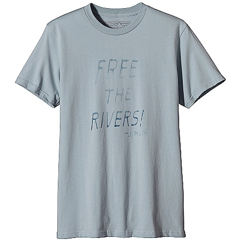 Patagonia Men's Free The Rivers T-Shirt DECENT FEATURES of the Patagonia Men's Free The Rivers T-Shirt Screen-print inks are PVC- and phthalate-free Ringspun, long-staple organic cotton for softness and durability Taped shoulder seams for comfort and fit retention Photo inspiration by David J. Cross The SPECS Slim fit Weight: 6.6 oz / 187 g 5.4-oz 100% organic cotton This product can only be shipped within the United States. Please don't hate us. - $35.00