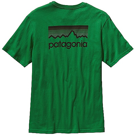 Patagonia Men's Line Logo T-Shirt DECENT FEATURES of the Patagonia Men's Line Logo T-Shirt Screen-print inks are PVC- and phthalate-free Taped shoulder seams for comfort 20 singles supersoft ringspun organic cotton Artist: Aaron Draplin The SPECS Regular fit Weight: 6.9 oz / 195 g 5.4-oz 100% organic cotton This product can only be shipped within the United States. Please don't hate us. - $35.00