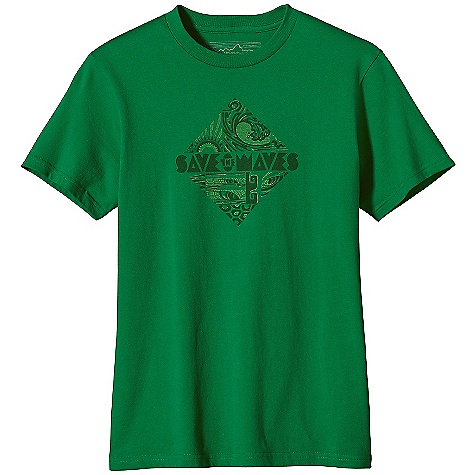 Patagonia Men's Save the Waves Diamond T-Shirt DECENT FEATURES of the Patagonia Men's Save the Waves Diamond T-Shirt Screen-print inks are PVC- and phthalate-free Ring spun, long-staple organic cotton for softness and durability Taped shoulder seams for comfort and fit retention Artist: Erik Abel The SPECS Slim fit Weight: 6.6 oz / 187 g 5.4-oz 100% organic cotton This product can only be shipped within the United States. Please don't hate us. - $35.00