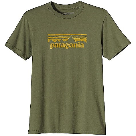 Patagonia Men's Stamp Logo T-Shirt DECENT FEATURES of the Patagonia Men's Stamp Logo T-Shirt Screen-print inks are PVC- and phthalate-free Ringspun, long-staple organic cotton for softness and durability Taped shoulder seams for comfort and fit retention Artist: Patagonia Logowear Crew The SPECS Slim fit Weight: 6.6 oz / 187 g 5.4-oz 100% organic cotton This product can only be shipped within the United States. Please don't hate us. - $35.00