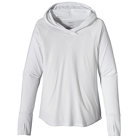 Free Shipping. Patagonia Women's Polarized Sun Hoody DECENT FEATURES of the Patagonia Women's Polarized Sun Hoody Lightweight, quick-drying polyester jersey provides 20-UPF sun protection Stylish oversized hood with lapped opening at the neck for added sun protection Thoroughly feminine with seam details and scalloped hem Thumb holes and doubled-fabric cuffs for versatility Raglan sleeves The SPECS Regular fit Weight: 8.5 oz / 240 g 4.8-oz 100% polyester jersey with 20-UPF sun protection This product can only be shipped within the United States. Please don't hate us. - $59.00