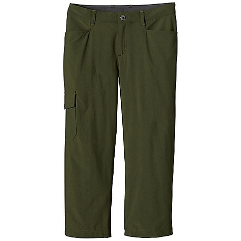 Climbing Free Shipping. Patagonia Women's Rock Craft Capri DECENT FEATURES of the Patagonia Women's Rock Craft Capri Lightweight climbing and trekking capris made of stretchy nylon with a DWR finish and 40-UPF sun protection Has belt loops, metal button and zippered fly Gusset for mobility Two front drop-in pockets Two back drop-in pockets with flaps Cargo pocket on right thigh Pocket flaps have snaps and decorative trim The SPECS Regular fit, Regular rise, Straight Leg 4.5-oz 96% nylon, 4% spandex with a DWR finish and 40-UPF sun protection Inseam: 22in. This product can only be shipped within the United States. Please don't hate us. - $69.00