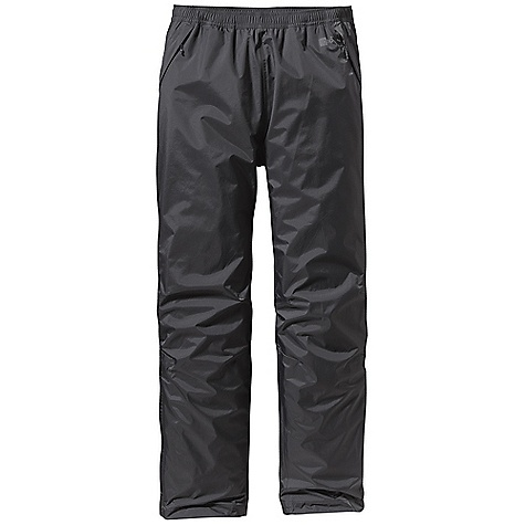 Free Shipping. Patagonia Men's Torrentshell Pant DECENT FEATURES of the Patagonia Men's Torrentshell Pant H2No Performance Standard shell with waterproof/breathable 2.5-layer nylon ripstop Pull-on elasticized waistband with internal draw cord Pockets: two zippered hand warmers and zippered right rear pocket; all have Deluge DWR-treated zippers, storm flaps and mesh pocket bag Articulated knees Adjustable self-fabric hook-and-loop closure at ankle with Deluge DWR-treated zipper and storm flap on lower leg Pants stow in self-stuff left hand warmer pocket with carabiner clip-in loop The SPECS Regular fit Weight: 9.2 oz / 261 g H2No Performance Standard shell: 2.5-layer, 2.6-oz / 50-denier 100% nylon ripstop with a waterproof/breathable barrier and a Deluge DWR (durable water repellent) finish This product can only be shipped within the United States. Please don't hate us. - $99.00
