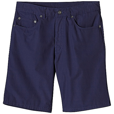 Free Shipping. Patagonia Men's Guild Short DECENT FEATURES of the Patagonia Men's Guild Short Made of a lightweight and durable washed organic cotton fabric with burly contrast thread Shorts with classic 5-pocket styling, rear yoke and belt loops Zip fly with button closure Slim leg The SPECS Slim fit Inseam: 10in. Fabric: 5.2-oz 100% organic cotton canvas This product can only be shipped within the United States. Please don't hate us. - $59.00