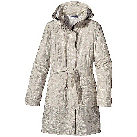 Free Shipping. Patagonia Women's Torrentshell Trench Coat DECENT FEATURES of the Patagonia Women's Torrentshell Trench Coat H2No Performance Standard 2.5-layer tear-resistant fabric is pack able and lightweight interior surface design channels moisture away from skin, slides easily over layers and protects the waterproof/breathable barrier from abrasion Removable hood has adjustable draw cord and secures with hidden snaps Full-length snapped placket with 2-way zipper and storm flap Articulated elbows 2-position, snapped cuff tabs Pockets: Two patch pockets with flaps secure with hidden snaps side entry hand warmers lined with brushed polyester Front and back princess seaming with darts provide a feminine silhouette removable belt and closed back pleat Above-the-knee length The SPECS Regular fit Weight: 14.7 oz / 417 g Shell: 2.5-layer, 2.6-oz 50-denier 100% nylon ripstop with a waterproof/breathable barrier and a Deluge DWR finish This product can only be shipped within the United States. Please don't hate us. - $179.00
