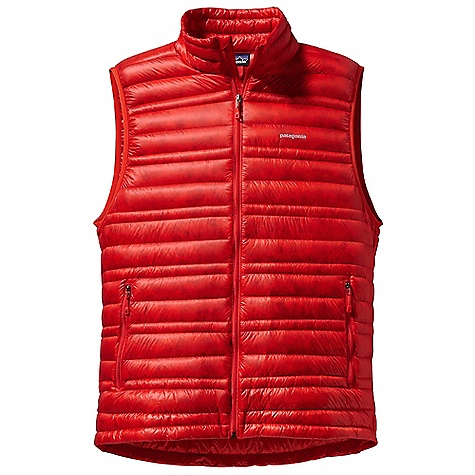 Free Shipping. Patagonia Men's Ultralight Down Vest DECENT FEATURES of the Patagonia Men's Ultralight Down Vest The toughest, lightest-weight shell fabric we've ever used for down garments with a Deluge DWR finish 800-fill-power premium European goose down for low-bulk warmth Variegated channel construction stabilizes insulation and allows the use of less down, creating an elegant, low-profile silhouette Two zippered hand warmer pockets Draw cord hem seals out cold and spindrift Self-fabric stuff sack The SPECS Slim fit Weight: 6 oz / 170 g Shell and Lining: 0.8 oz / 10-denier 100% nylon ripstop with a Deluge DWR (durable water repellent) finish Insulation: 800-fill-power premium European goose down This product can only be shipped within the United States. Please don't hate us. - $229.00