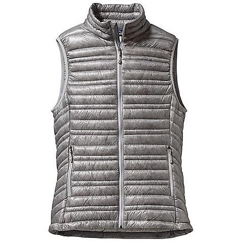 Free Shipping. Patagonia Women's Ultralight Down Vest DECENT FEATURES of the Patagonia Women's Ultralight Down Vest The toughest, lightest-weight shell fabric we've ever used for down garments with a Deluge DWR finish 800-fill-power premium European goose down for low-bulk warmth Variegated channel construction stabilizes insulation and allows the use of less down, creating an elegant, low-profile silhouette Two zippered hand warmer pockets Draw cord hem seals out cold and spindrift Self-fabric stuff sack The SPECS Slim fit Weight: 5.3 oz / 150 g Shell and Lining: 0.8 oz / 10-denier 100% nylon ripstop with a Deluge DWR (durable water repellent) finish Insulation: 800-fill-power premium European goose down This product can only be shipped within the United States. Please don't hate us. - $229.00