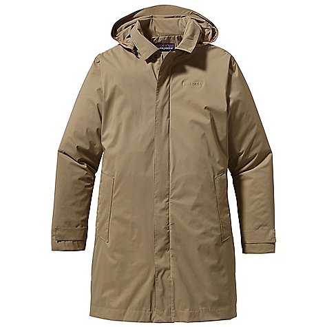 Free Shipping. Patagonia Men's Fogbank Trench Coat DECENT FEATURES of the Patagonia Men's Fogbank Trench Coat Clean, classic urban coat with an H2No Performance Standard 2.5-layer lightweight nylon shell with a waterproof/breathable barrier and a Deluge DWR finish Removable 3-panel hood has an extended brim with adjustable draw cords 2-way zipper and storm flap with snaps for maximum protection Two covered hand warmer pockets internal left-chest zippered pocket Cuff tabs with two-position snaps Pleat at back hem Mid-thigh length The SPECS Regular fit Weight: 21.1 oz / 598 g H2No Performance Standard Shell: 2.5-layer, 4-oz 100% nylon with a waterproof Breathable barrier and a Deluge DWR (durable water repellent) finish Lining: 2-oz 100% polyester plain weave This product can only be shipped within the United States. Please don't hate us. - $249.00