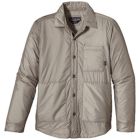 Free Shipping. Patagonia Men's Stoss Shirt DECENT FEATURES of the Patagonia Men's Stoss Shirt Made of a lightweight, durable polyester ripstop shell with a DWR finish insulated with 60-g PrimaLoft One polyester for warmth and compressibility Insulated shirt-style jacket with a metal zipper, internal reinforced wind flap, zipper garage and an insulated draft collar Pockets: Insulated, on-seam handwarmers left chest Smooth micro-ripstop with diamond-shaped quilting inside keeps PrimaLoft One insulation in place Hip length The SPECS Regular fit Weight: 11.2 oz / 317 g Shell and Lining: 1.4-oz 100% polyester mini-ripstop with DWR finsh Insulation: 60-g PrimaLoft One 100% polyester (70% recycled) This product can only be shipped within the United States. Please don't hate us. - $129.00