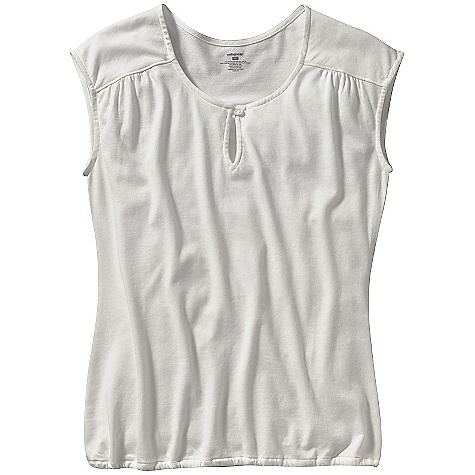 On Sale. Patagonia Women's Versatili-Tee DECENT FEATURES of the Patagonia Women's Versatili-Tee Shirt Plaited organic cotton and Tencel fabric is soft and comfortable Scoop neck Fine gathers at the shoulders Narrow keyhole opening at center front has button-and-loop closure Elastic at hem Hip length Regular fit The SPECS Weight: 130 g / 4.6 oz Fabric: 5.5-oz. 62% organic cotton/38% Tencel plaited jersey Recyclable through the Common Threads Recycling Program This product can only be shipped within the United States. Please don't hate us. - $17.99