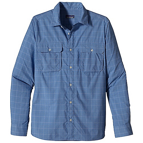 Free Shipping. Patagonia Men's L-S Trailbend Shirt DECENT FEATURES of the Patagonia Men's Long Sleeve Trailbend Shirt Made of an easy care, lightweight stretchy nylon/polyester blend with 30-UPF sun protection Quick-drying, long-sleeved button-front travel shirt Billowed chest patch pockets have button and flap closure Roll-up sleeves secure with button and flap Shirttail hem The SPECS Regular fit 2.3-oz 53% nylon, 48% polyester plain weave, with 30-UPF sun protection This product can only be shipped within the United States. Please don't hate us. - $85.00