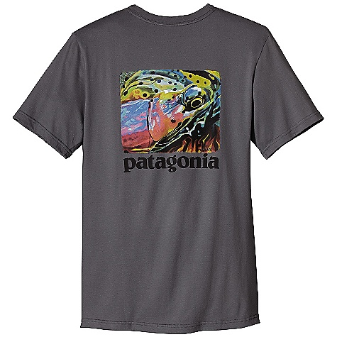 Patagonia Men's World Trout Fire T-Shirt DECENT FEATURES of the Patagonia Men's World Trout Fire T-Shirt Screen-print inks are PVC - and phthalate-free Ringspun, long-staple organic cotton for softness and durability Taped shoulder seams for comfort and fit retention Artist: AD Maddox The SPECS Regular fit Weight: 6.9 oz / 196 g 5.4-oz 100% organic cotton This product can only be shipped within the United States. Please don't hate us. - $35.00
