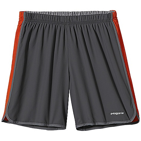 Patagonia Men's Strider Short 7IN DECENT FEATURES of the Patagonia Men's Strider Short 7IN Ultra-lightweight and fast-drying polyester with Air Flow mesh panels for breathable comfort Covered elastic waistband with internal drawcord Lightweight built-in liner wicks moisture and dries fast Internal envelope pocket Reflective logo on left hem The SPECS Regular fit Inseam: 7in. Weight: 4.1 oz / 116 g Body: 2.3-oz 50-denier 100% polyester (50% recycled) Panels: 3.2-oz 100% polyester Air Flow mesh Liner: 3.8-oz 100% microdenier polyester crepe With moisture-wicking performance and a Deluge DWR (durable water repellent) finish This product can only be shipped within the United States. Please don't hate us. - $45.00